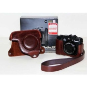 Triline Leather Camera Case Bag +Strap for Canon Powershot G15 / Coffee