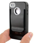 Black Polymer Cover Case with Belt Clip for iPhone 4 and 4S