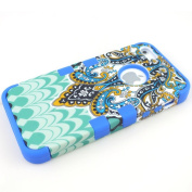 New 3-Piece Butterfly Tribal Tribe Pattern High Impact Hybrid Combo Hard Case Cover for iPhone 5 5G 5TH Blue