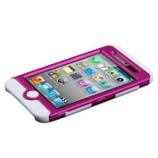 Hybrid Hot Pink/ White TUFF Faceplate Hard Plastic Protector Snap-On Cover Case For Apple iPod Touch 4
