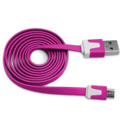 Hot Pink Tangle Free Vivid Series Micro USB Flat Noodle Cable by Atomic Market