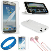 (Clear) Wrap Up TPU Silicone Skin Cover w/ Stand Feature for Samsung Galaxy Note II Android Smart Phone + Clear Anti Glare Screen Protector Strip w/ Cleaning Cloth + Pink VG Stereo Headphones with Windscreen Mic & Silicone Ear Tips + SumacLife TM Wisdo ..