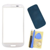 New Front Outer Screen Glass Lens Replacement for Samsung Galaxy S3 I9300 White with Adhesive Repair Tools