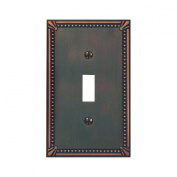 Jackson Deerfield 3001AZ Imperial Bead Antique Single Toggle Wall Plate, Bronze