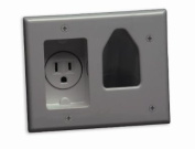 Datacomm 45-0021-GY Recessed Low Voltage Cable Plate with Recessed Power