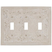 Faux Stone Almond Resin - 3 Toggle Wallplate