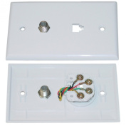 Satellite Wall Plate, White, F-pin Connector and Telephone Jack