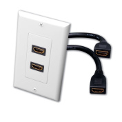Cable Leader 2-port HDMI Wall Plate with 20cm Built-in HDMI Cable with Ethernet