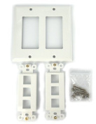 Sewell Wall Plate with 6 keystone ports, 2-Gang, White