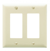 Pass & Seymour TP262ICC30 Trade Master Nylon Wall Plate with Two Decorator Openings, Two Gang, Ivory