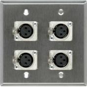 2-Gang SSteel Wall Plate with 4 Neutrik Latching 3-Pin XLR Females-by-TecNec