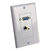 VGA and 3.5mm Stereo Wall Plate, White