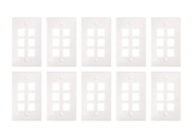Sewell Wall Plate with 6 Keystone Ports, 1-Gang, White, 10 Lot