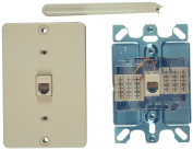 Allen Tel Products AT630ABC-4 Single Gang, 1 Port, 6 Position, 4 Conductor Wall Telephone Outlet Jack, Plastic Sleeve, Ivory