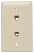 Pass and Seymour TPTE2I Two Modular RJ11 TelephoneJacks with Wall Plate, Four Conductor, Single Gang, Ivory