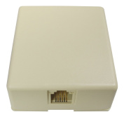 Allen Tel Products AT468-6 1 Port, Mounting Screw, Snap-On Cover, 6 Position, 6 Conductor Modular Surface Outlet Jack Screw Terminal, Ivory