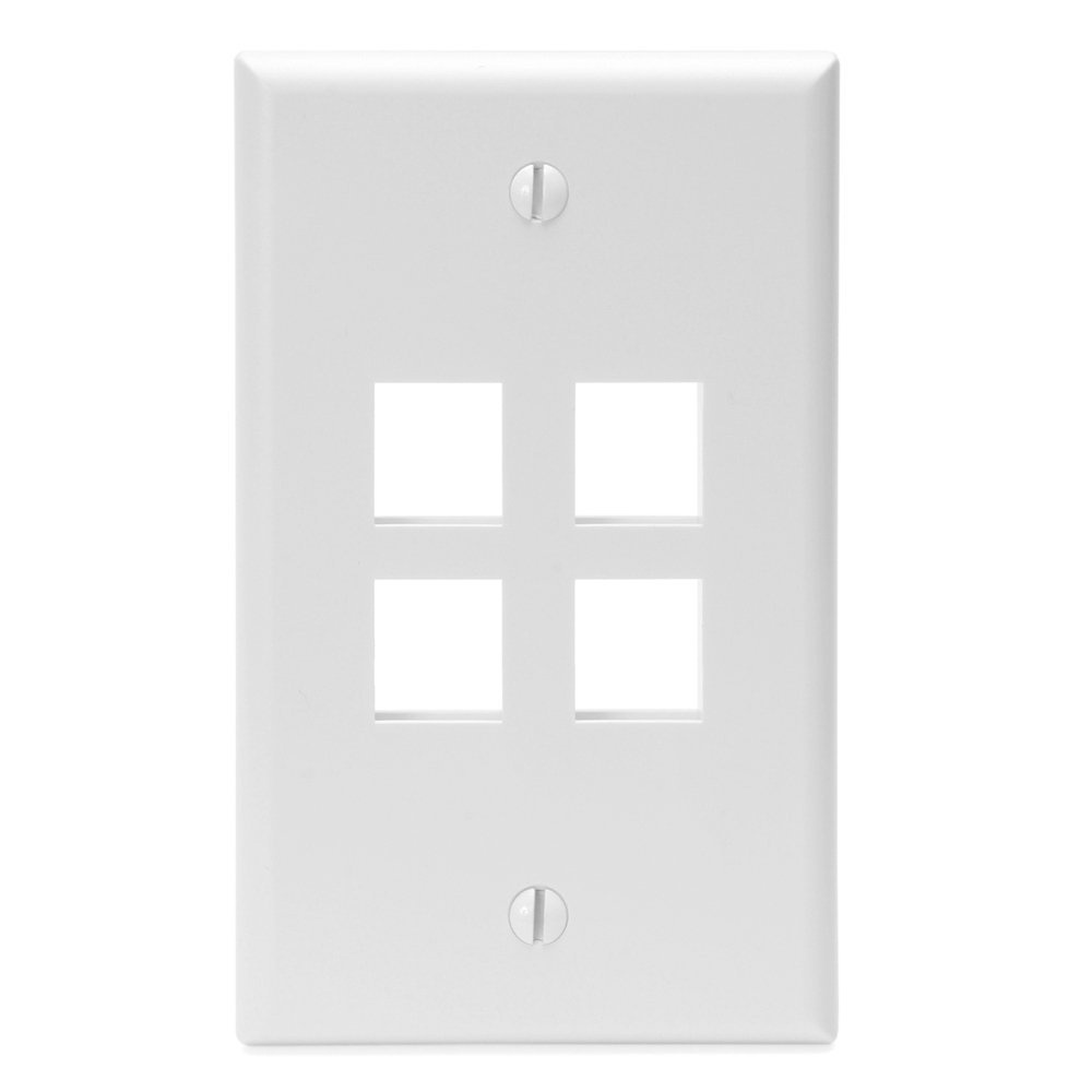 LEVITON-41080-4WP-QUICKPORT-WALLPLATE-4-PORT-WHITE-41080-4WP-Unbranded