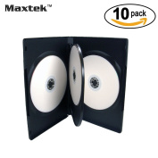 10 Pack Standard 14mm Black Quad 4 Disc DVD Cases with Double Sided Flip Tray and Outter Clear Sleeve