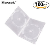 Maxtek 7mm Slim Clear Double CD/DVD Case, 100 Pieces Pack.