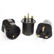 Orei GP-023 Schuko European to UK Grounded Plug Adapter - 3 Pack