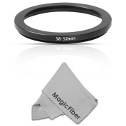 Goja 58-52mm Step-Down Adapter Ring (58mm Lens to 52mm Accessory) + Premium MagicFiber Microfiber Lens Cleaning Cloth