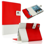 SAVEICON (TM) Red Hybrid PU leather Case Cover with Card Slots Auto Wake / Sleep Smart Cover Book Shell Stand for Apple New iPad Mini 20cm Wifi 3G 4G LTE with Built-in Stand