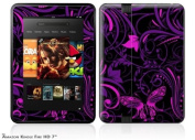 Twisted Garden Purple and Hot Pink Decal Style Skin fits Amazon Kindle Fire HD 18cm