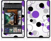Amazon Kindle Fire (Original) Decal Style Skin - Lots of Dots Purple on White