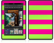 Amazon Kindle Fire (Original) Decal Style Skin - Kearas Psycho Stripes Neon Green and Hot Pink