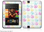 Kearas Peace Signs on White Decal Style Skin fits Amazon Kindle Fire HD 18cm