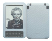 iShoppingdeals - for Amazon Kindle 3 WiFi+3G Reader 15cm Display White Silicone Skin Cover Case + Screen Protector Film