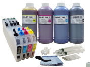 ND® LC101 LC103 LC105 LC107 Refillable Ink Cartridges CISS with Auto Reset Chips and 4 X 500ml Dye Ink Refill Kit for for Brother MFC Printers