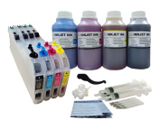 ND® LC101 LC103 LC105 LC107 Refillable Ink Cartridges CISS with Auto Reset Chips and 4 X 250ml Dye Ink Refill Kit for Brother MFC-J4310DW, MFC-J4410DW, MFC-J4510DW, MFC-J4610DW, MFC-J4710DW, MFC-J6920DW Printers