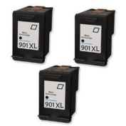 Amsahr 901XL(C6656AN) Remanufactured Replacement HP Ink Cartridges for Select Printers/Faxes - 3 Pack, Black
