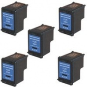 Amsahr 98(C9364W) Remanufactured Replacement HP Ink Cartridges for Select Printers/Faxes - 5 Pack, Black