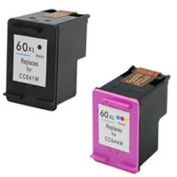 Amsahr 60XLBK(CC641WN) Remanufactured Replacement HP Ink Cartridges for Select Printers/Faxes with 1 Black and 1 Colour Ink Cartridges