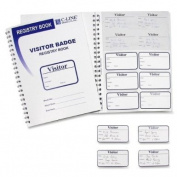 C-Line 97009 - Time's Up Self-Expiring Visitor Badges w/Registry Log, 2 x 3, White, 150/Box-CLI97009