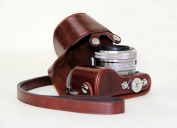 """MegaGear """"Ever Ready"""" Protective Dark Brown Leather Camera Case, Bag for Sony NEX-5R with Lens"""