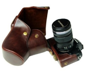 """MegaGear """"Ever Ready"""" Brown Leather Camera Case for New Olympus OM-D E-M5 Cameras with 12-50mm or 14-42mm Lens"""