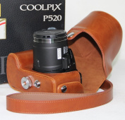 """MegaGear """"Ever Ready"""" Protective Light Brown Leather Camera Case, Bag for Nikon COOLPIX P520 18.1 MP Digital Camera"""
