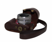 """MegaGear """"Ever Ready"""" Protective Brown Leather Camera Case, Bag for Sony NEX-3N with Sony SELP1650 16-50mm Lens"""