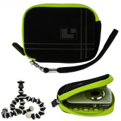 Aero Bump Protective Microsuede Sleeve Case (Green) For Canon PowerShot Point And Shoot Digital Cameras + Mini Tripod