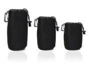 Cosmos ® Black 3 pcs DSLR camera Drawstring Soft Neoprene Lens Pouch Bag Cover for Sony Canon Nikon Pentax Olympus Panasonic + Free Cosmos Cable Tie
