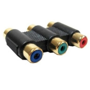 3 RGB RCA to 3 RGB RCA Coupler Gold Plated