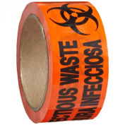 """Roll Products 142-0008 PVC Film Biohazard Warning Tape with Black Imprint, Legend """"Infectious Waste"""" (with Logo), 55yd Length x 5.1cm Width, 7.6cm Core, For Identifying and Marking, Fluorescent Red/Orange"""