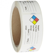 Roll Products 163-0014 Litho Removable Adhesive HMIG Label with 4 Colour Imprint, Reagent, 6.4cm Length x 3.8cm Width, For Identifying and Marking, White