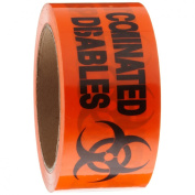 """Roll Products 142-0005 PVC Film Biohazard Warning Tape with Black Imprint, Legend """"Contaminated Disposables"""" (with Logo), 55yd Length x 5.1cm Width, 7.6cm Core, For Identifying and Marking, Fluorescent Red/Orange"""