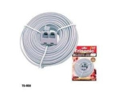15m White Telephone Extension Cord W/ Dual Jack