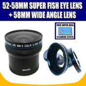 Zeikos ZE-1858F 52/58mm 0.18X Super Fisheye Lens and Zeikos ZE-WA58B 58mm Wide Angle Lens with Exclusive FREE Complimentary Super Deal Micro Fibre Lens Cleaning Cloth