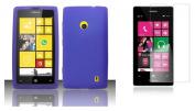 Nokia Lumia 521 / 520 - Accessory Kit - Purple Silicone Gel Cover + Atom LED Keychain Light + Screen Protector